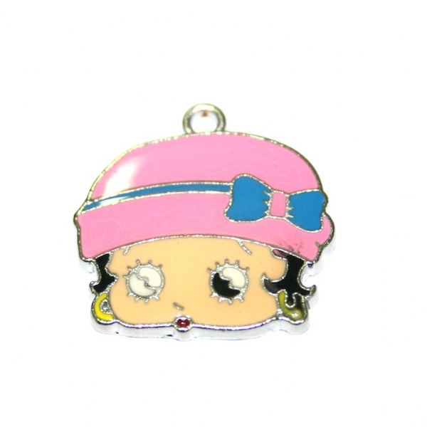 1pce x 23*19mm Betty face with pink hat and blue bow enamel charms - S.D03 - CHE1299